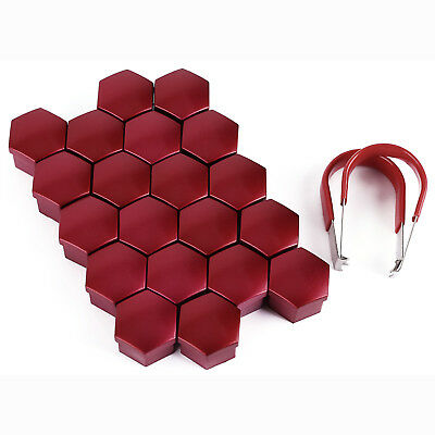 17mm RED ALLOY WHEEL NUT BOLT COVERS CAPS UNIVERSAL SET FOR ANY CAR UK