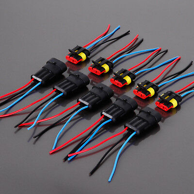 5X 3 Pin Way Waterproof Electrical Connector Plug With Wire Car Motorcycle
