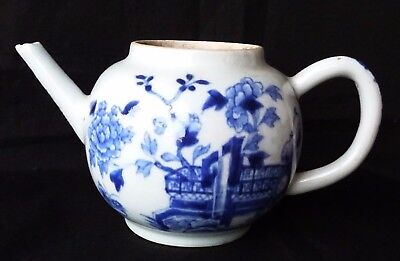 Antique 18Th C Chinese Blue And White Porcelain Tea Pot , No Lid