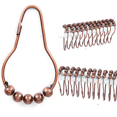 Pack of 24 Chrome Plated Ball Bead Shower Metal Curtain Rings Hooks Bronze