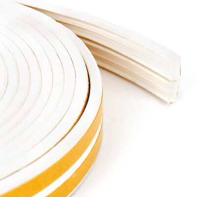 Foam Draught Self Adhesive Window Door Excluder Tape Seal Strip Rubber 10m White
