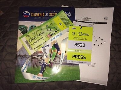 SLOVENIA v SCOTLAND Oct. 2017 programme, team-sheet, ticket, lanyard