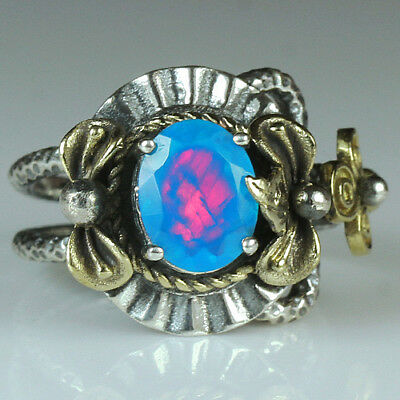27.4CT Natural 925 Silver Oval Ethiopian Light Blue Opal Vintage Ring MCQB45