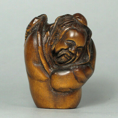 Boxwood Wood Netsuke Oldman Figurine Carving  WN566