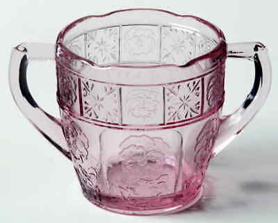 Jeannette Glass DORIC AND PANSY PINK Child Sugar Bowl 1748227
