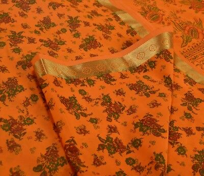 TCW Vintage Art Silk Ethnic Saree Saffron Printed Sari Craft 5 Yard Fabric