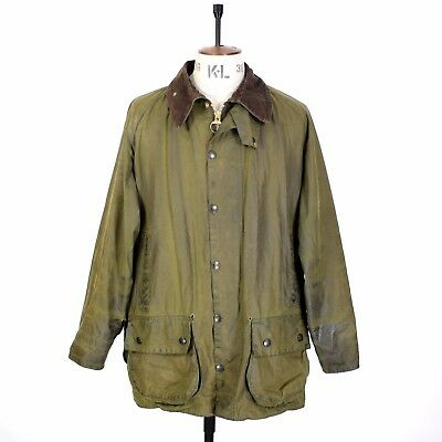 Men's BARBOUR BEAUFORT Green WAXED COTTON Sports Farmer Shooting Jacket 46