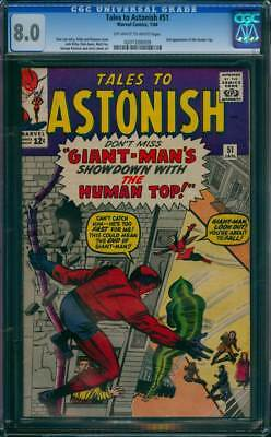 Tales to Astonish # 51  Showdown with the Human Top !  CGC 8.0  scarce book !
