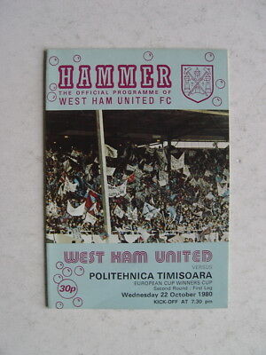 West Ham United v Politehnica Timisoara 1980/81 Cup Winners Cup