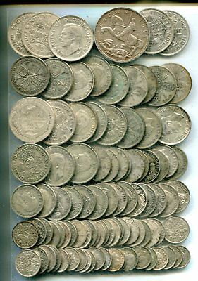 £5 pre 1947 Crown-Threepences, equivalent 8.91 tr oz pure silver - all different