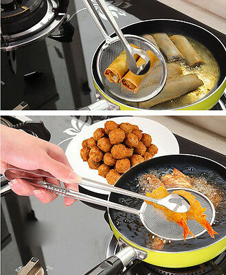 Multi Functional Filter Spoon With Clip Food Kitchen Oil-Frying Salad BBQ Filter