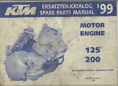 Genuine KTM 125 200 SX MXC EXC (1999) Parts List Book Catalog Manual ENGINE VMX