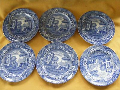 """Spode  Italian 6X 7 1/4"""" Side Plates - Blue Oval Mark For 1918- Good Condition !"""