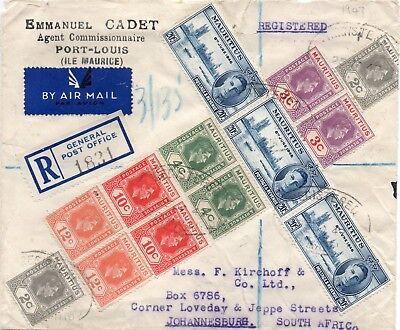 "registered air mail cover ""MAURITIUS to JOHANNESBURG"" 1947,"