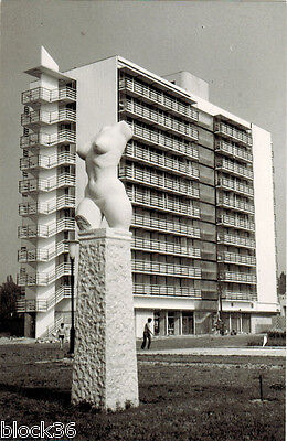 Hungarian postcard WOMAN'S TORSO at hotel in Budapest Sculpture by László Marton