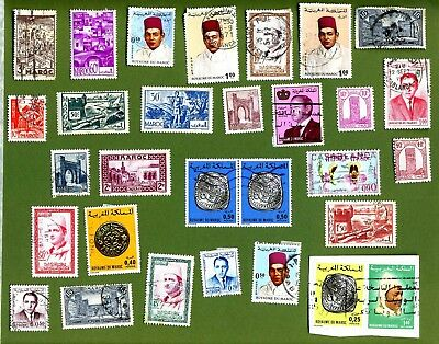 Large selection of old stamps of Morocco.