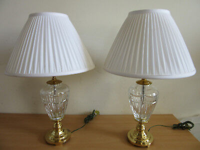 "Pair of large 24"" WATERFORD Beautiful Crystal / brass lamps & shades"