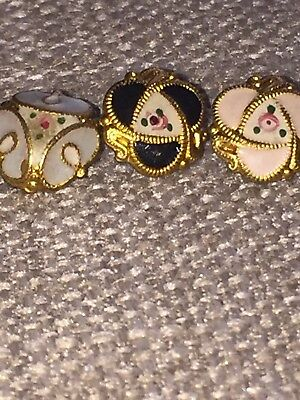 20 X Antique Gilt & Enamel Tiny Buttons Victorian/Early 20c