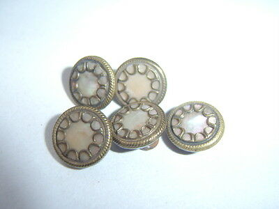 5 Antique Victorian Mother of Pearl Brass Cut Steel 10mm Sm Collectable Buttons