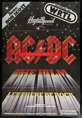 Original 1980 French 42 3/4 X 62 Movie Theatre Poster AC/DC LET THERE BE ROCK