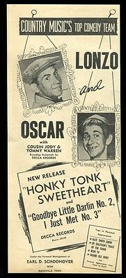 1952 Lonzo and Oscar photo Honky Tonk Sweetheart vintage trade print ad