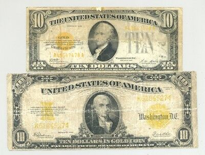 $10 small and $10 large size (Series 1922 and 1928) Gold Certificates no reserve