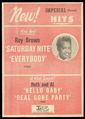 1957 Roy Brown photo Imperial Records trade print ad