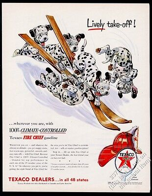 1954 Dalmatian puppy dogs on skis siing art Texaco gas oil vintage print ad
