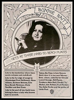 1973 Bonnie Raitt photo Takin My Time album release vintage print ad