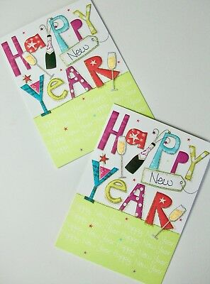 NEW YEAR CARDS x12, JUST 25p, EMBOSSED, GLITTERED (EC24