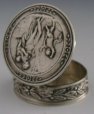 VERY PRETTY FRENCH SOLID SILVER SNUFF / PILL BOX ANTIQUE c1900