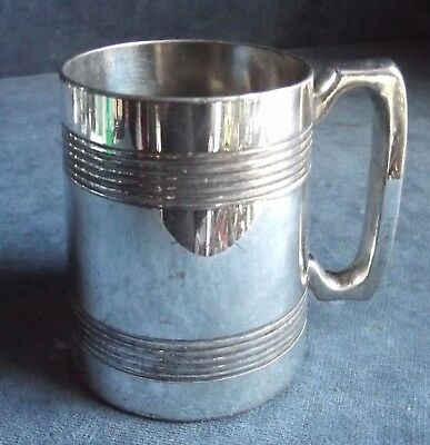 GOOD Victorian ~ SILVER Plated / GLASS Bottomed ~ Half PINT TANKARD ~ c1890