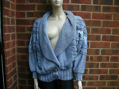 Nannell Blue Linen Blend Cardigan with embroidered design size L