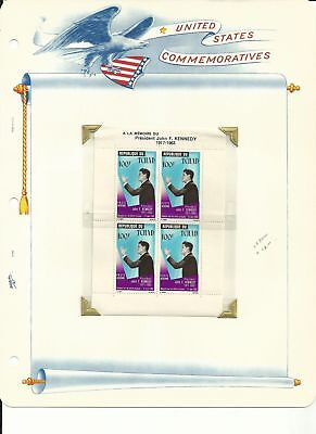 Chad Collection, John F Kennedy, C20, C20a, C52-C55a Mint NH Sheet, FDC