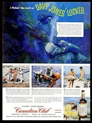 1956 scuba diving diver photo Canadian Club whisky vintage print ad