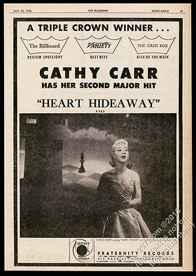1956 Cathy Carr photo Heart Hideaway record release vintage print ad