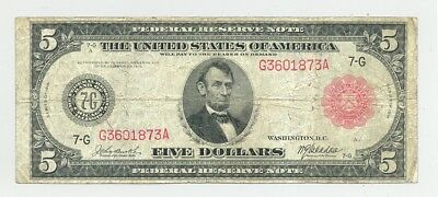 $5 Series 1914 Federal Reserve Note red seal bright color and no problems