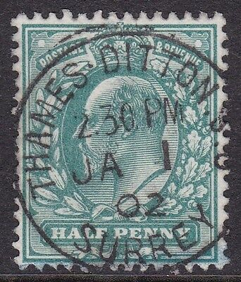 Gb 1902 ½D Blue Green With First Day Thames Ditton Cds Ja 1 02