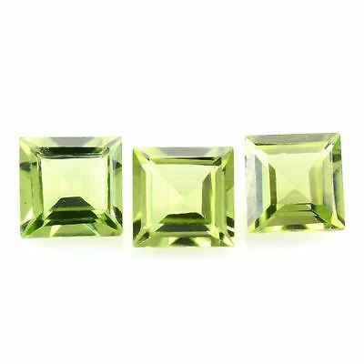 5 PIECES OF 2mm SQUARE-FACET LIGHT-GREEN NATURAL AFGHAN PERIDOT GEMSTONES £1 NR!