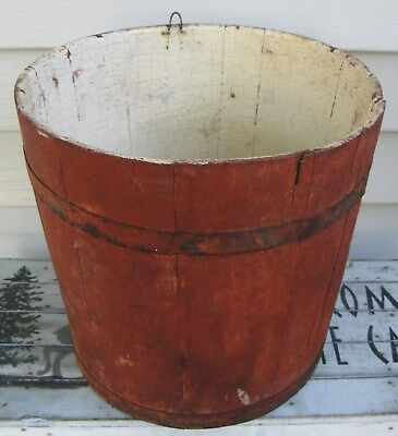 Antique Staved Wooden Sap Bucket, Old Red Paint, Hanging Hook, Iron Bands