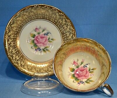 Aynsley Cabbage ROSE cup & saucer heavy gilding on yellow & white 2