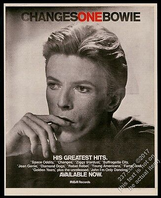 1976 David Bowie photo ChangesOne Changes One album release vintage print ad