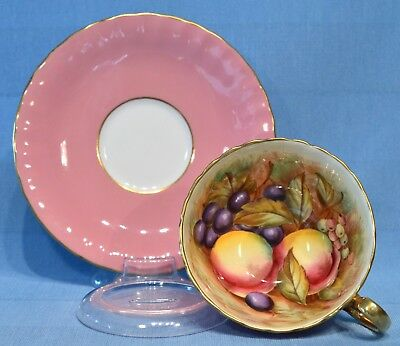 Gorgeous Aynsley 1950's signed JONES  fruit cup & saucer on all pink outside