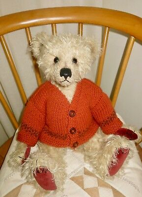 "*TEDDY CLOTHES* new hand knitted fairisle cardigan to suit a 15-16"" bear"