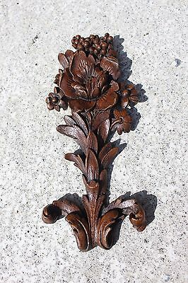 Antique Hand Carved Sculpted Wood Wooden Flower Flowers Ornate Ornamental