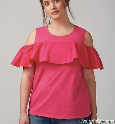 526e1dbb3aae7 LANE BRYANT ~NEW! 14 16 ~Pink or White Cold Shoulder Mixed Flutter Cotton