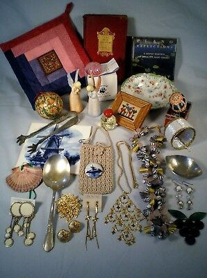 Lady Junk Drawer/Gift Box~Mixed Jewelry Lot~Delft Tile/Pin~Pewter Dish~Angels