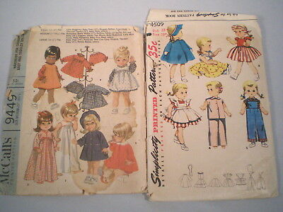 "Lot 2 Vintage Doll Clothes Patterns ~18"" & 22"" ~Saucy Walker~Betsy Wetsy +"