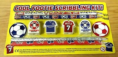 JOB LOT 10 x FOOTBALL STATIONERY SETS PENCILS ERASERS FOR PARTY BAGS BOYS