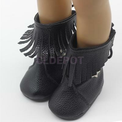 Fashion Mid-calf Boots Laceup Shoes for 18inch American Girl AG Dolls Black